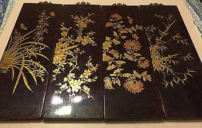 Vintage Lacquer Hand Painted 4 Panel Wall Art with Gold Foil Floral