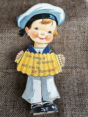 Vintage Katz 1921 Mechanical Valentine Sailor Playing Acordion, Song of My Heart