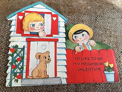 Vintage Mechanical Valentine Boy, Girl Neighbors, Both Heads Move Independently