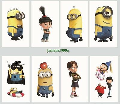 1-100 Despicable Me Minion Cartoon Temporary Tattoos Kid Party Favors Bag Filler