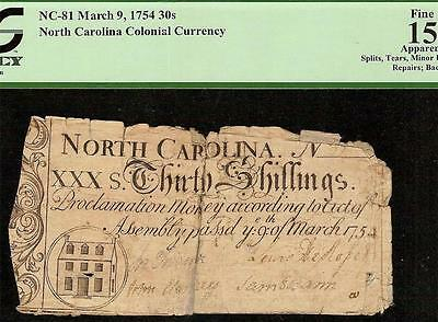 1754 North Carolina Colonial Currency House Note Very Old Paper Money Pcgs 15
