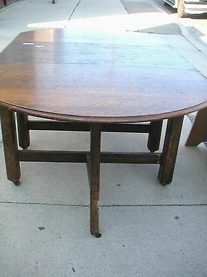 RARE Antique DROP LEAF TABLE Tiger Wood by Wilson Furniture Co.