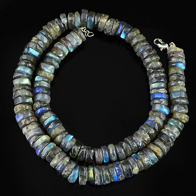 280.00 Cts Earth Mined 7 Line Blue Flash Labradorite Round Cut Beads Necklace