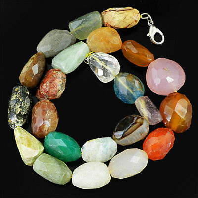 657.50 Cts Untreated Multicolor Multi Gemstone Faceted Beads Necklace (Dg)