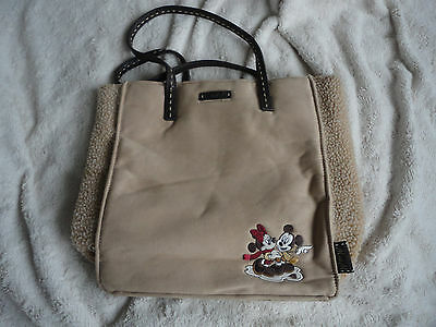 faux sheepskin/suede cream tote bag. Minnie and Mickey from the Disney Store