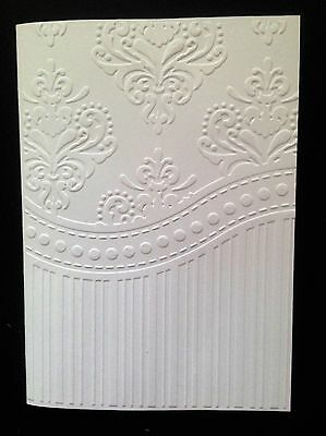 5 Blank A6 White Embossed Cards/Envelopes/Sleeves - Demask and Stripes