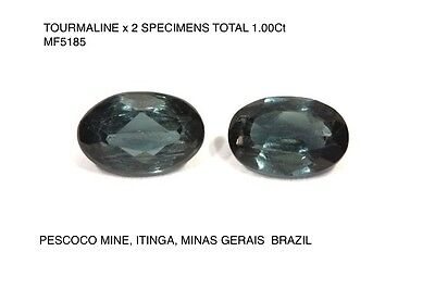 TOURMALINE x 2 SPECIMENS UNTREATED INDICOLITE COLOUR HUES TOTAL 1,00Ct  MF5185