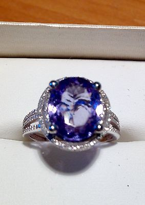 Large TANZANITE & White DIAMOND ladies Dress Ring Set In 9ct White Gold Size O