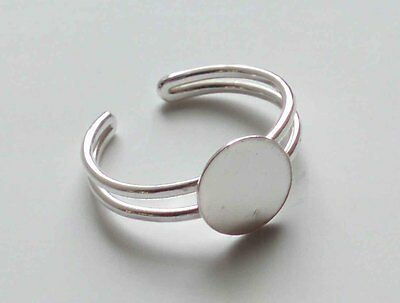 Sterling Silver Adjustable Ring Blanks With 9 mm Round or Square Gluing Pad