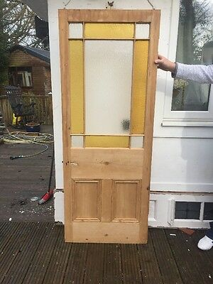Classic Victorian Front Door Period Old Reclaimed Antique Pine Wood Stained Glas