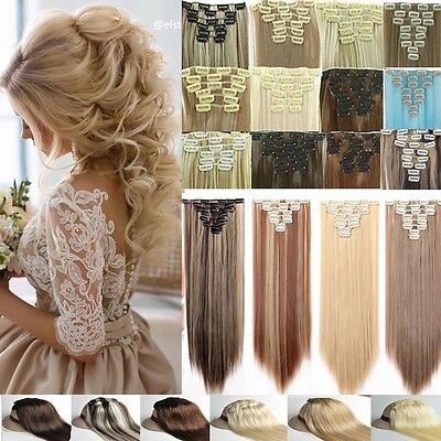 Real Thick Clip In Hair Extensions 8 Pcs Full Head Hair Extentions Human Made Fg
