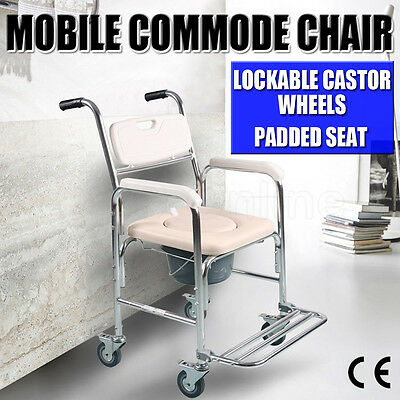 Mobile Shower Aluminum Waterproof Commode Chair Padded Seat Wheels Footrest  NEW