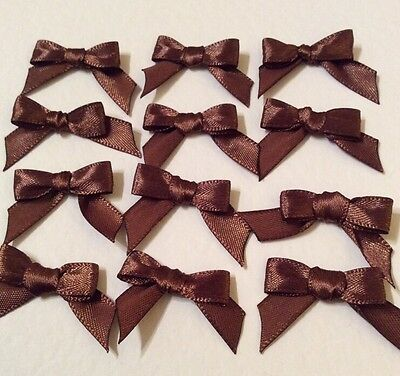20 Chocolate Brown 10mm Ribbon bows �� for card making/scrap booking UK charity