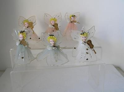 Vintage 1950's Pipecleaner Angels playing Violins with Made in Japan tags set 6