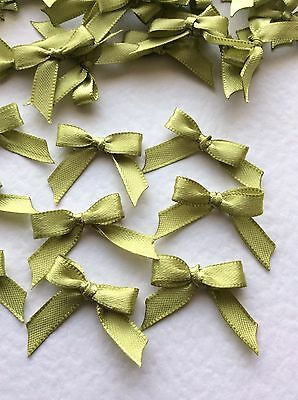 30 Pretty Olive Green 6mm Ribbon bows �� for card making/scrap booking -charity