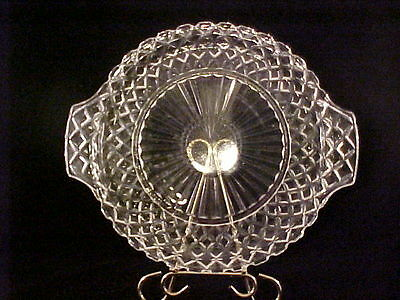 """Anchor Hocking Waterford Waffle Pattern Crystal 12"""" Handled Cake Plate"""