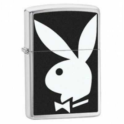 Zippo Playboy Bunny Black White Brushed Chrome Windproof Lighter  Brand New