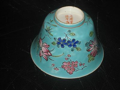 Antique Vintage Chinese Republic Floral Tea Bowl Marks To Base