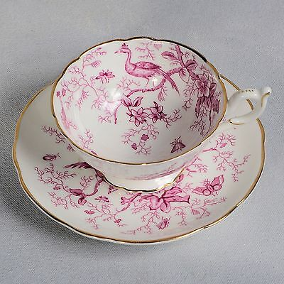 "Coalport ""cairo"" Teacup & Saucer - Athens Shape Pink On White"