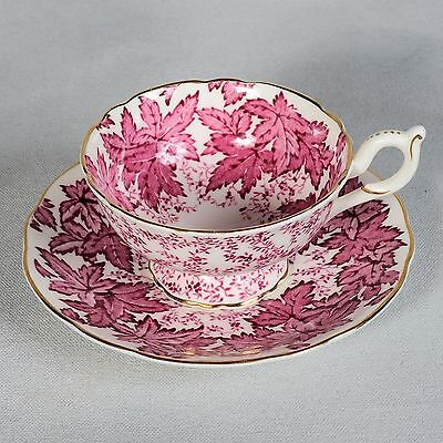 Coalport Teacup & Saucer - White Background Decorated With Pink Leaves