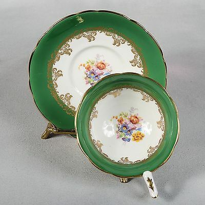 Royal Stafford Teacup & Saucer - Emerald Green/ White Gilded Design & Flowers