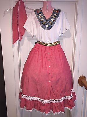 Square Dance - Nautical Top, Red Skirt, Belt & Man's Tie- Large/ XL