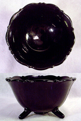 Vintage BLACK Purple AMETHYST Glass MT PLEASANT Footed BOWL Candy Dish L E SMITH