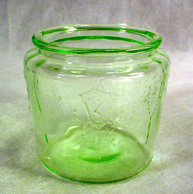 Small GREEN Glass COOKIE JAR Mini CANISTER Mosser Hocking CAMEO Ballerina CHILD