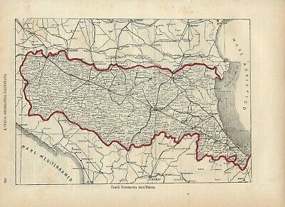 Carta geografica antica EMILIA ROMAGNA 1891 Old antique map