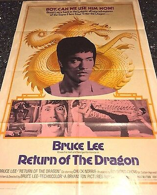 Return Of The Dragon Ff Orig 1Sh Movie Poster Bruce Lee, Chuck Norris,1974