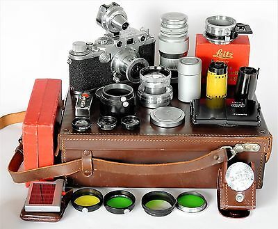 """Der """"AutoknLeitz Leica IIIc in Koffer mit 3 Objektiven, fitted case and 3 lenses"""
