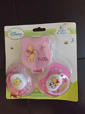 Disney Baby- 2 PACK Winnie The Pooh pacifier Pink With Clip