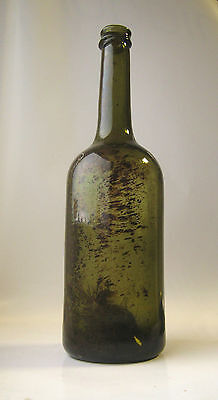 Antique German black glass cylinder wine bottle ca. 1780-1790 open pontil