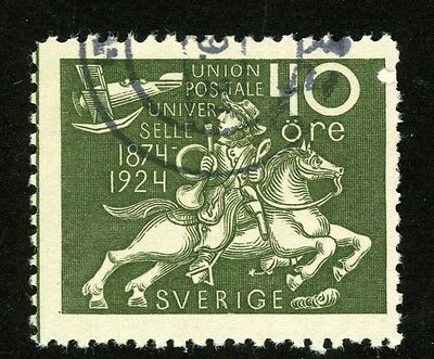 1924 Sweden Stamp #220 40o olive green, Used, H  Postrider Watching Airplane