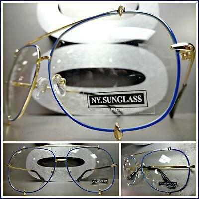 New CLASSIC VINTAGE RETRO Style Clear Lens EYE GLASSES Gold & Blue Fashion Frame