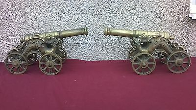 magnificent pair of  large antique  brass cannons chinese dragon carriage
