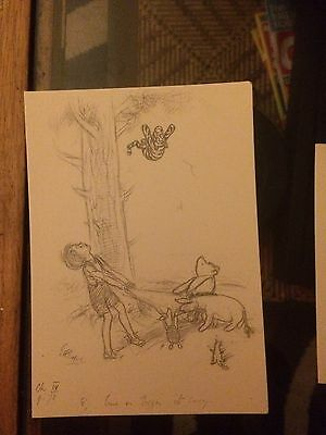 Winnie the Pooh Pencil Drawing Post Cards Set Of 6