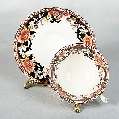 Tuscan Teacup & Saucer - Floral Pattern With Black Accent Designs