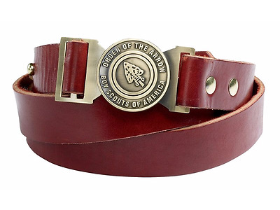 Rare! BSA Order of the Arrow Brown Leather  belt  with OA Buckle Size 28