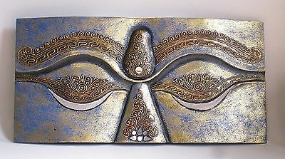 Hand Carved Beautiful Wooden Buddha Eyes Plaque (Blue Finish).....50cm.....
