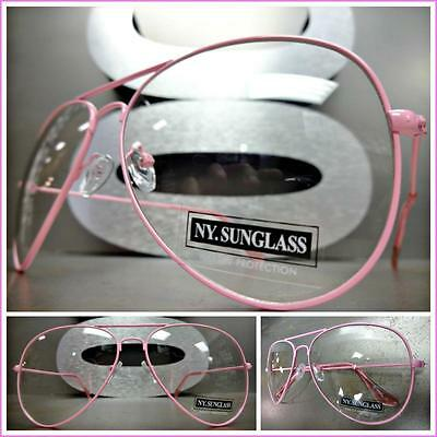 CLASSIC VINTAGE 70's RETRO Style Clear Lens EYE GLASSES Pink Metal Fashion Frame