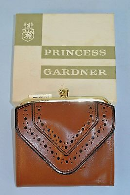 Vintage Princess Gardner Brown Leather Coin Purse Wallet ~ New in Box