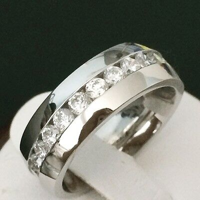 8Mm Men's Wedding Band Ring Stainless Steel With White Topaz Size 9.10.11.12.13