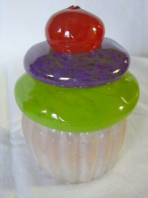 """Cupcake Paperweight Colorful Solid Glass, 4"""", Signed, EXC., LOOK!"""