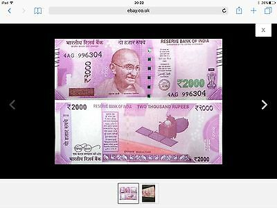 New Indian Rupees Note 2000 INR / RS Rupee
