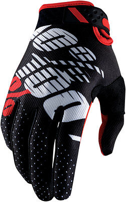 100% MX Motocross RIDEFIT Gloves (Black/Red) M (Medium)