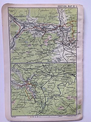 Galashiels, Lanark, Scotland, 1911 Antique Map, Bartholomew Atlas