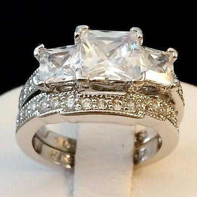 Womens Engagement Wedding Ring Set Sterling Silver 3.65 Tcw Princess Cut Cz