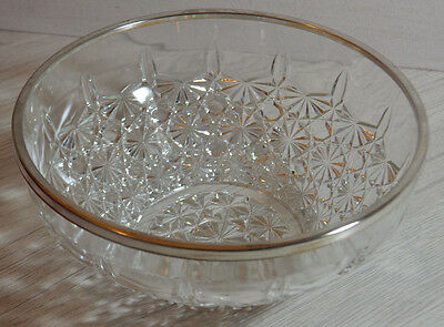 Beautiful Vintage French Cut Glass Fruit Bowl With White Metal Rim / Top Quality