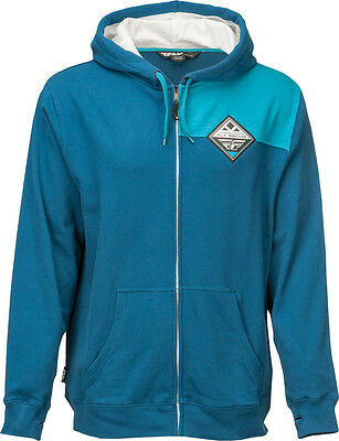 FLY RACING Offroad MTB BMX - Patch Zip-Up Hoodie Sweatshirt (Blue) S (Small)